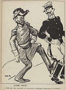 Desenho monocromático do General André em uniforme militar chutando um oficial.