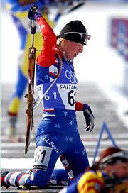 Andrea Nahrgang prepares to shoot from the prone position at the 2002 Winter Olympics.