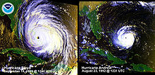 A comparison of two hurricanes, the one of the left is noticeably larger than the other