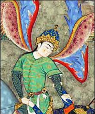 Sraosha - Painting of Angel Surush in The Shahnama of Shah Tahmasp