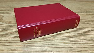 Anglican Missal - A pew edition of the Anglican Missal sitting on a desk in the vestry of an Anglican church.