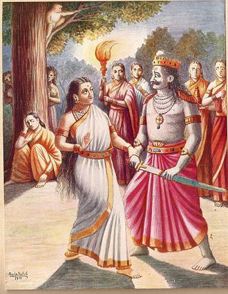 Mandodari - Mandodari stops Ravana from slaying Sita.