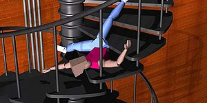 Ragdoll physics - Still from an early 1997 animation using ragdoll physics