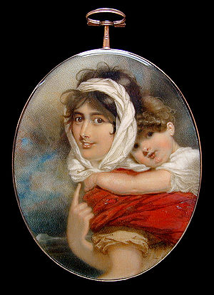 Miniature portrait of Anne Becher Thackery and...