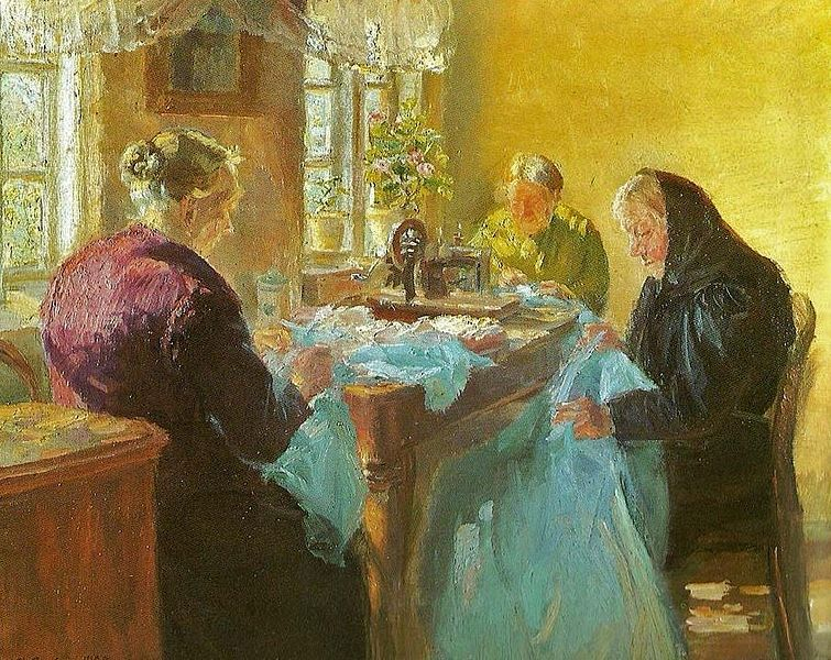 File:Anna Ancher (Danish painter, 1859-1935) Sewing a Dress for a Costume Party 1920.jpg