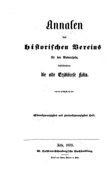 File:Annalen des Historischen Vereins für den Niederrhein 21-22 (1870).djvu