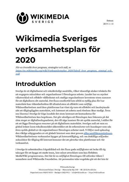 Fil:Annual plan for 2020 for Wikimedia Sverige (Swedish).pdf