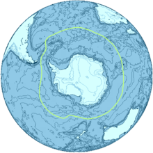 Map of Antarctica surrounded by a green line representing the Antarctic convergence