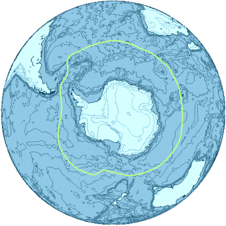 A general delineation of the Antarctic Convergence, sometimes used by scientists as the demarcation of the Southern Ocean Antarctica-Region.png