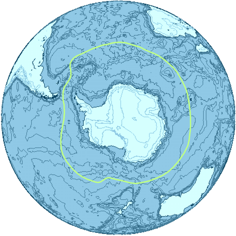 The Southern Ocean around Antarctica