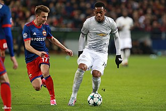 Anthony Martial - Martial playing against CSKA Moscow in the 2017–18 Champions League