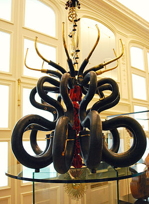 Musical Instrument Museum (Brussels) - Antique instruments (serpents) on display