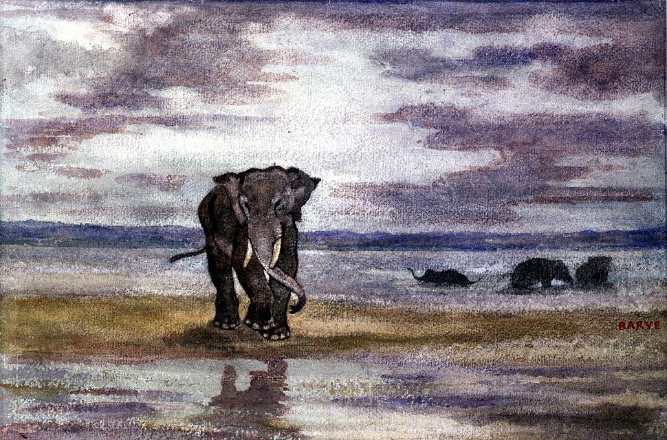Antoine-Louis Barye - Elephants in Water - Walters 37819