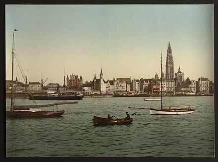 Antwerp, Belgium, from the left bank of the Scheldt (c. 1890 -1900) Antwerp, Belgium, from the left bank of the Scheldt (ca. 1890-1900).jpg