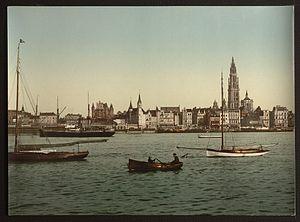 Antwerp, Belgium, from the left bank of the Scheldt (ca. 1890-1900)
