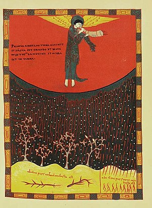 Saint-Sever Beatus - The rain of fire and blood from folio 137v of the Apocalypse of St. Sever