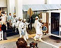 Apollo 14 crew walk to transfer van (KSC-71PC-67).jpg
