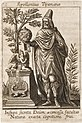 Apollonius Tyanaeus - Apollonius of Tyana in a hat holding an orb. With dragon, sphinx and tree.jpg