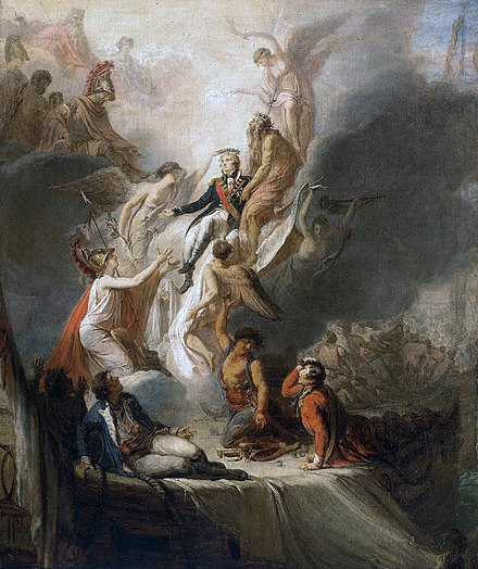 Scott Pierre Nicolas Legrand's Apotheosis of Nelson, c. 1805-18. Nelson ascends into immortality as the Battle of Trafalgar rages in the background. He is supported by Neptune, whilst Fame holds a crown of stars as a symbol of immortality over Nelson's head. A grieving Britannia holds out her arms, whilst Hercules, Mars, Minerva and Jupiter look on. Apotheosis of Nelson.jpg
