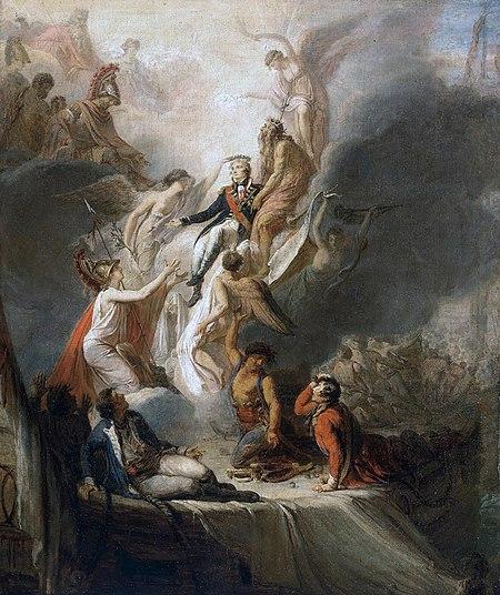 死後作られたネルソン提督の昇天図。王冠(月桂冠)らしきものを天使によって被せられている。Wikipediaより