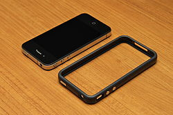 A bumper case on the iPhone 4.