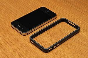 IPhone 4 - An iPhone 4 next to a Bumper.