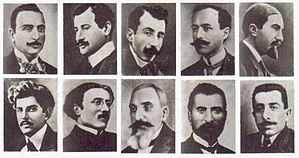 Deportation of Armenian intellectuals on 24 April 1915 - Some of the Armenian intellectuals who were detained, deported, and killed in 1915: 1st row: Krikor Zohrab, Daniel Varoujan, Rupen Zartarian, Ardashes Harutiunian, Siamanto 2nd row: Ruben Sevak, Dikran Chökürian, Diran Kelekian, Tlgadintsi, and Erukhan