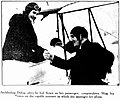 Archbishop Duhig, after he had flown as her passenger, congratulates Miss Ivy Pearce on the capable manner in which she manages her plane, 4 September 1935.jpg