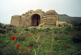 Sasanian architecture - The Palace of Ardashir, constructed in AD 224 during the Sassanid Dynasty. The building has three large domes, among the oldest examples of such large-scale domes in the World.