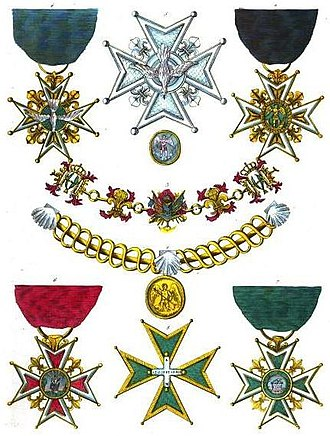 Royal Military and Hospitaller Order of Our Lady of Mount Carmel and Saint Lazarus of Jerusalem united - Insignia of the order (on bottom row)