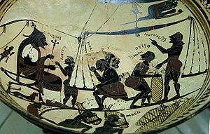 Arkesilas Painter - The Arkesilas Cup, name vase of the Arkesilas Painter, circa 565/560 BC; Paris: Cabinet des Médailles.
