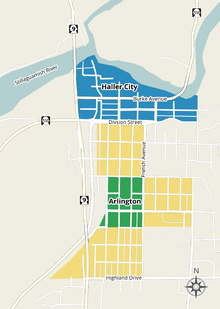 A map of modern downtown Arlington, with the locations of Arlington and Haller City highlighted.