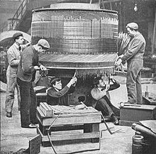 Armature winders at work, 2 (Rankin Kennedy, Electrical Installations, Vol III, 1903).jpg