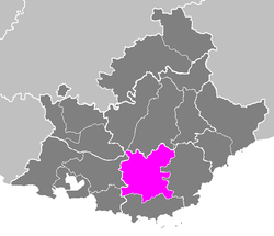 Location of Brignoles in Provence-Alpes-Côte d'Azur