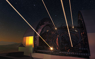 Adaptive optics - Artist's impression of the European Extremely Large Telescope deploying lasers for adaptive optics