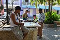 Artist at work, Street scene in Cartagena, Colombia (24721040882).jpg