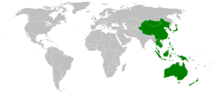 Map showing countries within the Asia-Pacific ...