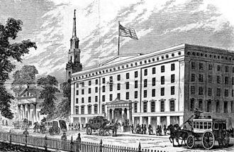 Astor House - The Astor House in 1862, with St. Paul's Chapel to the left