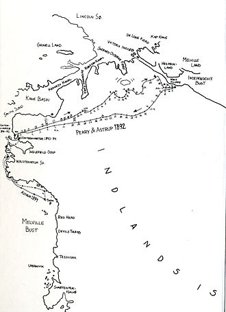 Eivind Astrup - Astrup's map of his travels across Northwest Greenland with Robert Peary in 1892 and with Kolotengva to Melville Bay in April 1894