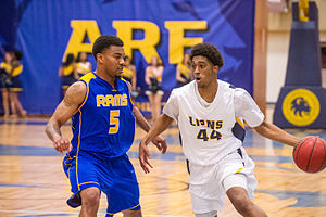 Angelo State Rams men's basketball - The Rams men's basketball team in action against the Texas A&M–Commerce Lions in 2015