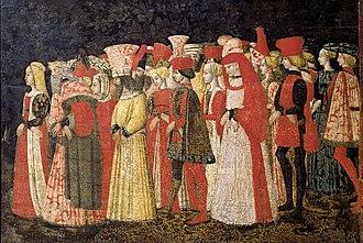 Marco del Buono - Love procession panel scene by Marco del Buono and Apollonio di Giovanni di Tommaso, Accademia Carrara di Belle Arti di Bergamo, 1440s