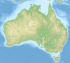 """Mapa konturowa Australii, na dole po prawej znajduje się czarny trójkącik z opisem """"Mount Buller"""""""