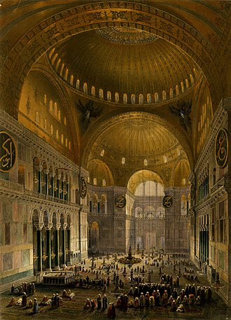 Gaspare Fossati's 1852 depiction of the Hagia Sophia, after his and his brother's renovation. Lithograph by Louis Haghe. Aya Sofia, Constantinople (BM 1889,0603.120).jpg