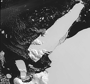 McMurdo Sound - An iceberg that calved off Iceberg B-15 caused extensive pack ice buildup in McMurdo Sound, blocking shipping and preventing penguin access to open water.