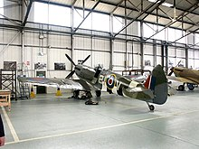 Spitfire Mk IX MK356 inside the Battle of Britain Memorial Flight hangar at RAF Coningsby.