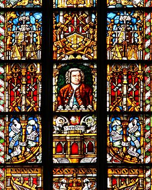 English: Bach church window in St. Thomas Chur...