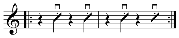 Drum notation for a back beat Backbeat chop.png