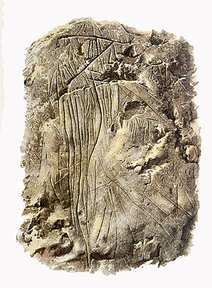 "Bosnia and Herzegovina art - ""Horse attacked by arrows"", engraving in cave Badanj near Stolac, c. 14000 BC."