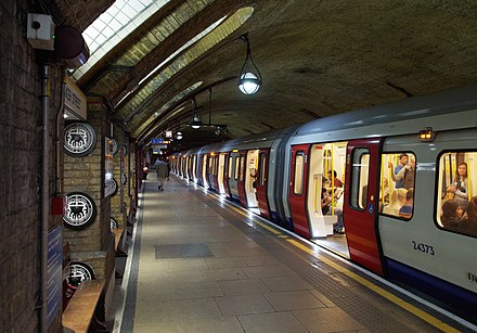 The London Underground is the world's oldest and third-longest rapid transit system. Baker Street tube station MMB 19 S Stock.jpg