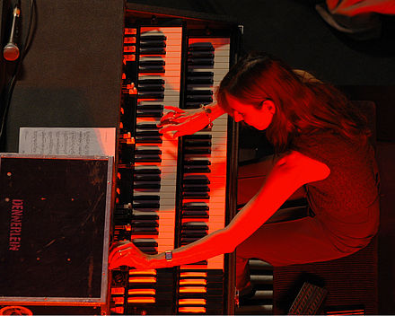 Barbara Dennerlein has been praised for her work on the Hammond's bass pedals. BarbaraDennerlein2010.jpg